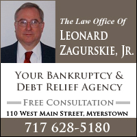 Bankruptcy Lawyers-Debt Relief Agency Lebanon, PA-Law Office of Leonard Zagurskie, Jr.